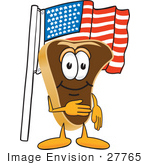 #27765 Clip Art Graphic Of A Beef Steak Meat Mascot Character Pledging Allegiance To The American Flag