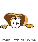 #27766 Clip Art Graphic Of A Beef Steak Meat Mascot Character Peeking Over A Surface