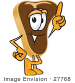 #27768 Clip Art Graphic Of A Beef Steak Meat Mascot Character Pointing Upwards