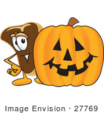 #27769 Clip Art Graphic Of A Beef Steak Meat Mascot Character Standing By A Halloween Pumpkin