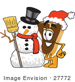 #27772 Clip Art Graphic Of A Beef Steak Meat Mascot Character Wearing A Santa Hat And Standing With A Snowman