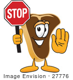 #27776 Clip Art Graphic Of A Beef Steak Meat Mascot Character Holding A Stop Sign