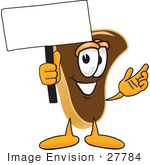 #27784 Clip Art Graphic Of A Beef Steak Meat Mascot Character Waving A Blank White Advertising Sign