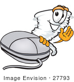 #27793 Clip Art Graphic Of A Tornado Mascot Character Waving And Standing By A Computer Mouse