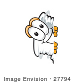 #27794 Clip Art Graphic Of A Tornado Mascot Character Peeking Around A Corner