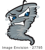 #27795 Clip Art Graphic Of A Tornado Mascot Character With Evil Blue Eyes