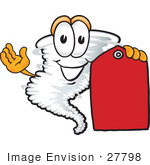#27798 Clip Art Graphic Of A Tornado Mascot Character Holding A Red Sales Price Tag