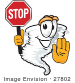 #27802 Clip Art Graphic Of A Tornado Mascot Character Holding A Stop Sign