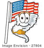 #27804 Clip Art Graphic Of A Tornado Mascot Character Pledging Allegiance In Front Of An American Flag