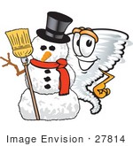 #27814 Clip Art Graphic Of A Tornado Mascot Character With A Snowman