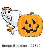 #27819 Clip Art Graphic Of A Tornado Mascot Character With A Halloween Pumpkin