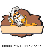#27823 Clip Art Graphic Of A White Chefs Hat Cartoon Character Over A Blank Brown Label On A Logo