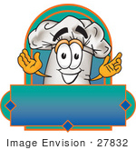 #27832 Clip Art Graphic Of A White Chefs Hat Cartoon Character Over A Blank Label On A Logo