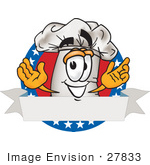 #27833 Clip Art Graphic of a White Chefs Hat Cartoon Character Over a Blank Label on a Logo With Stars by toons4biz