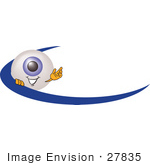 #27835 Clip Art Graphic Of A Blue Eyeball Cartoon Character On An Employee Name Tag With A Blue Dash