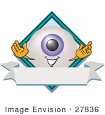 #27836 Clip Art Graphic Of A Blue Eyeball Cartoon Character Over A Blank White Label