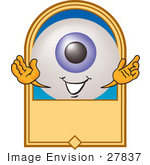#27837 Clip Art Graphic Of A Blue Eyeball Cartoon Character On A Blank Label