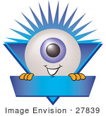#27839 Clip Art Graphic Of A Blue Eyeball Cartoon Character Over A Blank Blue Label