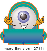 #27841 Clip Art Graphic Of A Blue Eyeball Cartoon Character Over A Blank Label