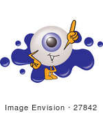 #27842 Clip Art Graphic Of A Blue Eyeball Cartoon Character On A Blue Paint Splatter Logo
