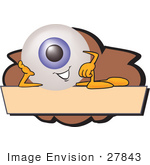 #27843 Clip Art Graphic Of A Blue Eyeball Cartoon Character Over A Blank Brown Label