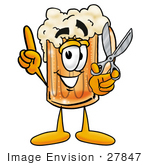 #27847 Clip Art Graphic Of A Frothy Mug Of Beer Or Soda Cartoon Character Preparing To Cut Something With A Pair Of Scissors