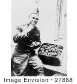 #27888 Historical Stock Photo Of A Male American Soldier Seated And Eating From A Big Box Of Donuts