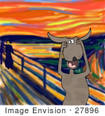 #27896 Animal Clipart Picture Of A Humorous Parody Of The Scream By Edvard Munch Showing A Stressed Out Dog Holding His Paws To His Cheeks While Screaming