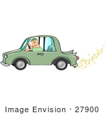 #27900 Clipart Image Illustration Of A Caucasian Man Driving A Green Biodiesel Car With Popcorn Coming Out Of The Muffler