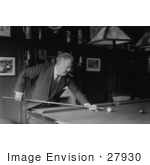 #27930 Stock Photograph Of A Man Victor Herbert Leaning Over To Aim A Cue Stick While Playing Billiards In A Pool Hall