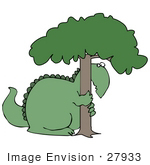 #27933 Clip Art Graphic Of A Green Tree Hugging Dinosaur Symbolizing Loss Of Habitat Or Love For Nature