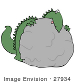 #27934 Clip Art Graphic Of A Scared Green Dinosaur Crouching Behind A Boulder And Peeking Over The Top Symbolizing Disappearing Habitat Or Fear Of Something