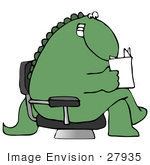 #27935 Clip Art Graphic Of A Seated Happy Green Dinosaur Reading A Letter Magazine Or Book While Waiting In An Office Lobby