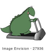 #27936 Clip Art Graphic Of A Hot Green Dinosaur Walking On A Treadmill In A Fitness Gym While Trying To Get Back Into Shape