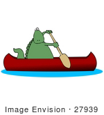 #27939 Clip Art Graphic of a Green Dinosaur Using a Paddle to Propel a Canoe by DJArt