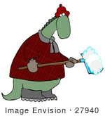 #27940 Clip Art Graphic Of A Green Dinosaur In A Hat And Plaid Coat Shoveling Snow Off Of A Walkway In The Winter