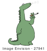 #27941 Clip Art Graphic Of A Unhealthy Green Dinosaur Holding A Cigarette And Blowing Out O Shaped Rings Of Smoke