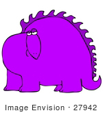 #27942 Clip Art Graphic Of A Bored Purple Dinosaur Looking Curiously Out At The Viewer