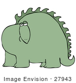 #27943 Clip Art Graphic Of A Bored Green Dinosaur Looking Curiously Out At The Viewer