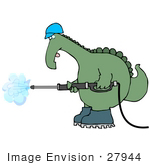 #27944 Clip Art Graphic Of A Green Dinosaur Worker Operating A Pressure Washer Nozzle