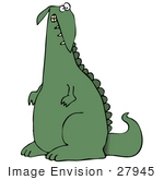#27945 Clip Art Graphic Of A Green Dinosaur With A Guilty Or Crazy Facial Expression Looking Back Over His Shoulder