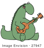 #27947 Clip Art Graphic Of A Musical Green Dinosaur Singing And Playing A Guitar