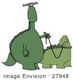 #27948 Clip Art Graphic Of A Green Dinosaur Standing Upright And Walking Another Dinosaur On A Leash