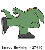 #27949 Clip Art Graphic Of A Happy Green Dinosaur Ice Skating
