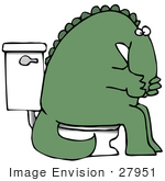 #27951 Clip Art Graphic Of A Sick Green Dinosaur With Irritable Bowel Syndrome (Ibs) Sitting On A Toilet In A Bathroom