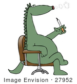 #27952 Clip Art Graphic Of A Green Lung Cancer Ridden Dinosaur Sitting Cross Legged In A Chair And Blowing Smoke Circles While Smoking A Cigarette