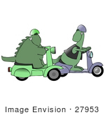 #27953 Clip Art Graphic Of A Pair Of Green Dinosaurs On Green And Purple Scooters Racing On The Street