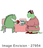 #27954 Clip Art Graphic Of A Female Dinosaur In A Pink Robe And Her Hair In Curlers Serving Coffee To Her Exhausted Husband After Waking Up In The Morning
