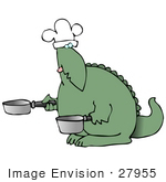 #27955 Clip Art Graphic Of A Green Dinosaur Chef Wearing A White Chefs Hat And Holding Two Pots
