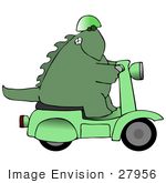 #27956 Clip Art Graphic Of A Cool Green Dinosaur In A Helmet Riding On A Green Scooter